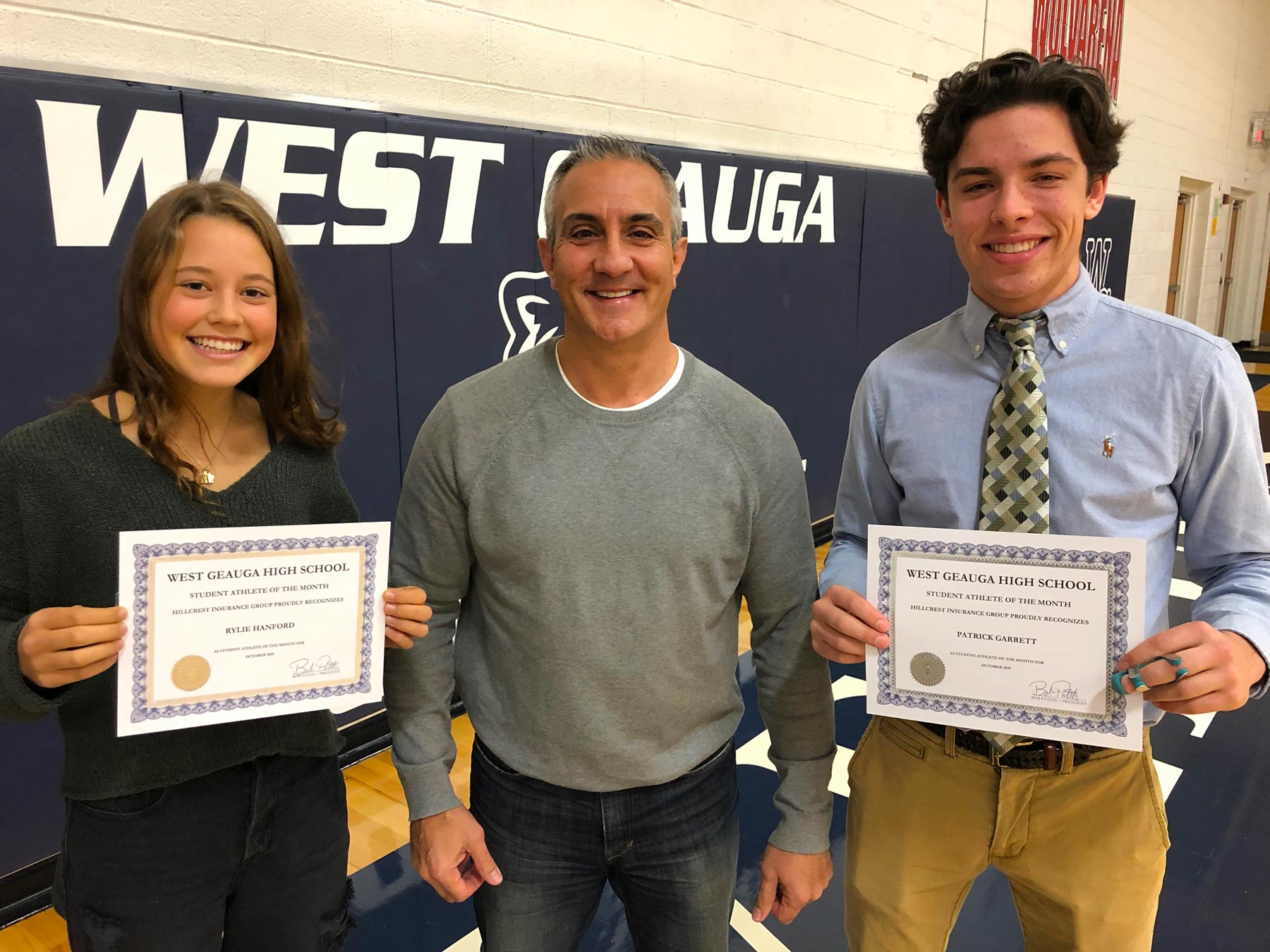 West Geauga October 2019 Student Athlete of the Month by Hillcrest Insurance - Rylie Hanford & Patrick Garrett