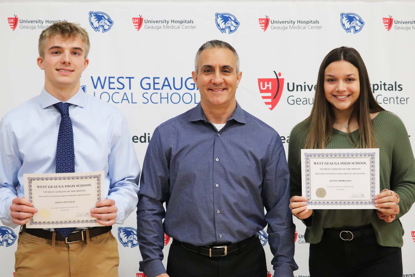 West Geauga January 2020 Student Athlete of the Month by Hillcrest Insurance - Aidan Pitcock & Alyssa Morgano